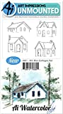 Art Impressions - Watercolor Cling Rubber Stamp - Mini Cottage Set