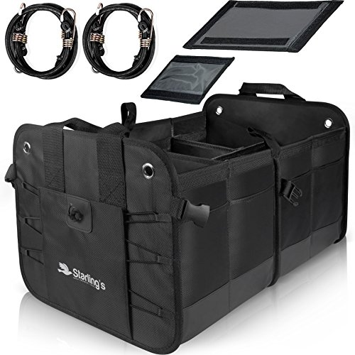 Starling's Car Trunk Organizer Durable Collapsible Adjustable Compartments, Black