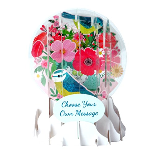 - Up With Paper Pop-Up Everyday Snow Globe Greeting Card - Bird and Flower Bouquet