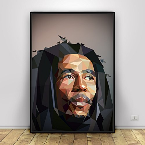 Bob Marley Print, low poly style - portrait. Series - Favorite musicians. Reggae idol poster. Unframed print Production Poly Poster