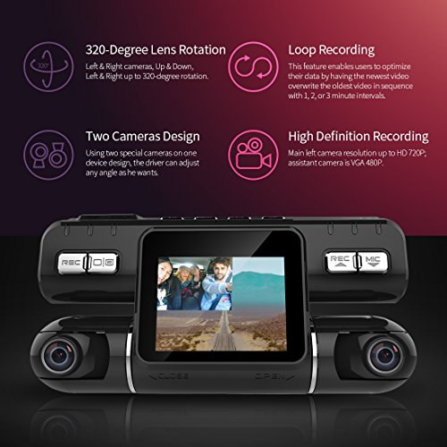 Pruveeo MX2 Dash Cam Front and Rear Dual Camera for Cars, 240 Degree Wide Angle Driving Recorder DVR by PRUVEEO (Image #2)