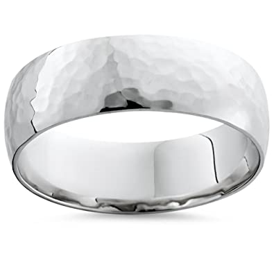 Mens Hammered Platinum Wedding Band Amazoncom