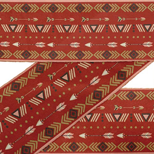 IBA Indianbeautifulart Red Dot,Arrow & Triangle Geometric VelvetTrimFabric Sewing Fabric Lace Dressmaking Printed Sewing Lace 9 Yards 2 Inches