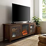 WE Furniture Fireplace TV Stand, 70', Dark Walnut