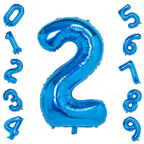 40 Inch Blue Big Number 2 Balloon Birthday Party Decorations Helium Foil Mylar Number Balloon Digital 2]()