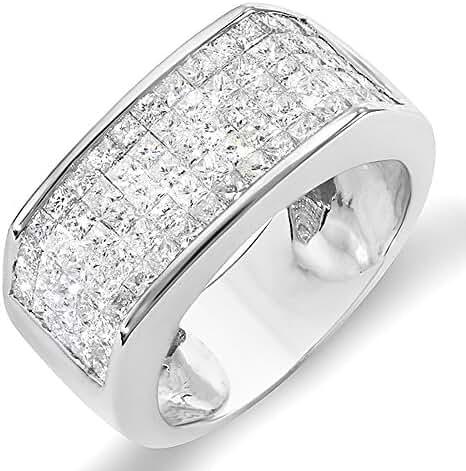 2.00 Carat (ctw) 14k White Gold Princess Diamond Invisible Set Men's Wedding Band Ring 2 CT