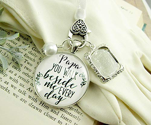 (Papa Father Wedding White Bouquet Charm Photo Frame Memorial Grandfather Silver Finish Remembrance Bridal Jewelry )