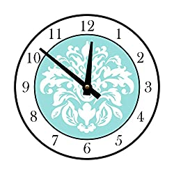 Instant Murals Design Elegant Damask Wall Clock, White and Light Blue