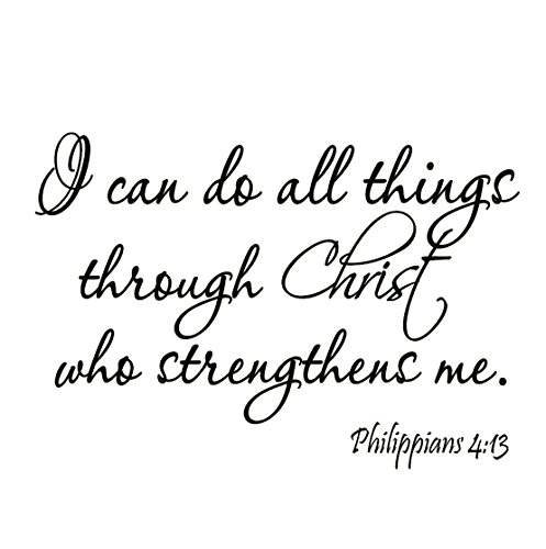 Christian Inspirational Quotes (I Can Do All Things Through Christ Who Strengthens Me Philippians 4:13 Wall Decal Bible Scripture Christian Wall Art Quote Lettering Mural)