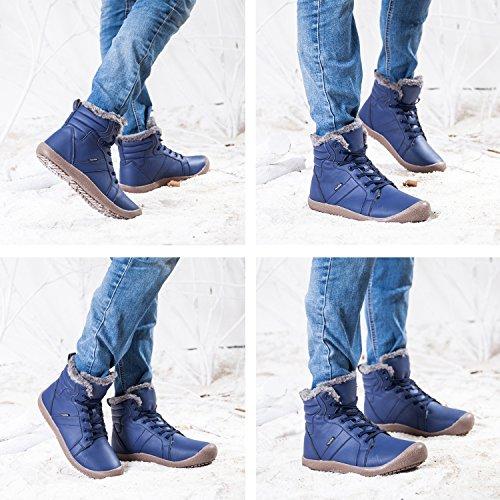 JIASUQI Outdoor Waterproof Ankle Winter Warm Fur Snow Boots for Women Men