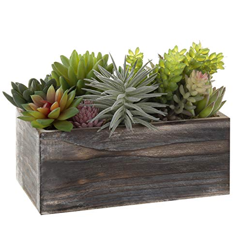 MyGift Assorted Artificial Succulents in Rustic Wood Planter Box - Wooden Planter Make Box