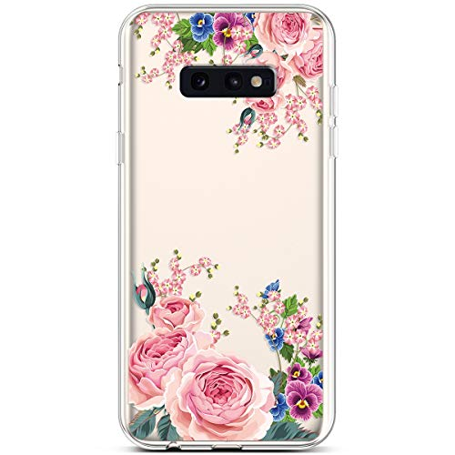 PHEZEN Compatible Galaxy S10e Case,Slim Shockproof Cute Amusing Whimsical Design Crystal Clear Ultra Thin Soft Silicone TPU Cover Bumper Phone Case for Samsung Galaxy S10e,Red Rose