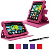 "rooCASE Amazon Kindle Fire 7 Case - (2013 Previous Generation) Dual View Multi Angle Tablet 7-Inch 7"" Stand Cover - MAGENTA (With Auto Wake / Sleep Cover)"