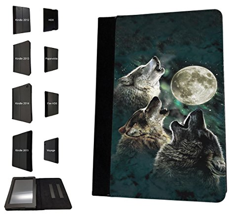 Fire Design (002351 - Collage Wolf Moon View Design Amazon Kindle Fire HD 8 (2017) Flip Case Purse pouch Stand Cover)