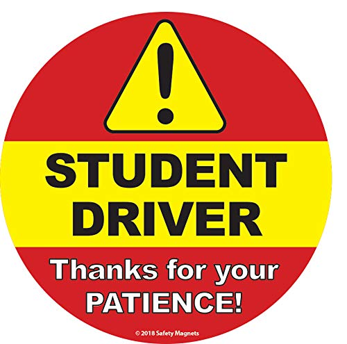 Student Driver Sign (Designed by Safety Magnets) - Inside Car Window Static Cling Decal - 6 x 6 in. - Easy to Remove and Reposition & Won't Fall -
