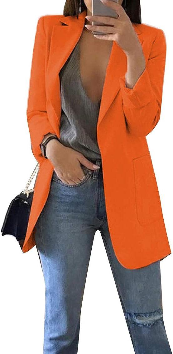 YMING Women's Casual One Button Blazer Office Work Long Sleeve Blazer