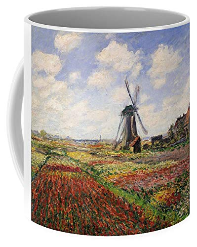 (KPSheng Tulip Fields With The Rijnsburg Windmill - 11 Ounces Gift Coffee Mug - Funny Inspirational And Motivational)