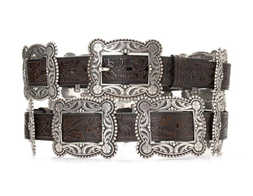Nocona Women's Sliding Conchos Leather Hip Belt Dark Brown - Concho Belt