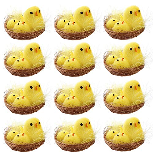 wang JESS Mini Chicks,12 Pcs Cute Easter Chickens with Nest Set Decoration for Easter Eggs Bonnet Party Favors Gifts for Kids from wang JESS
