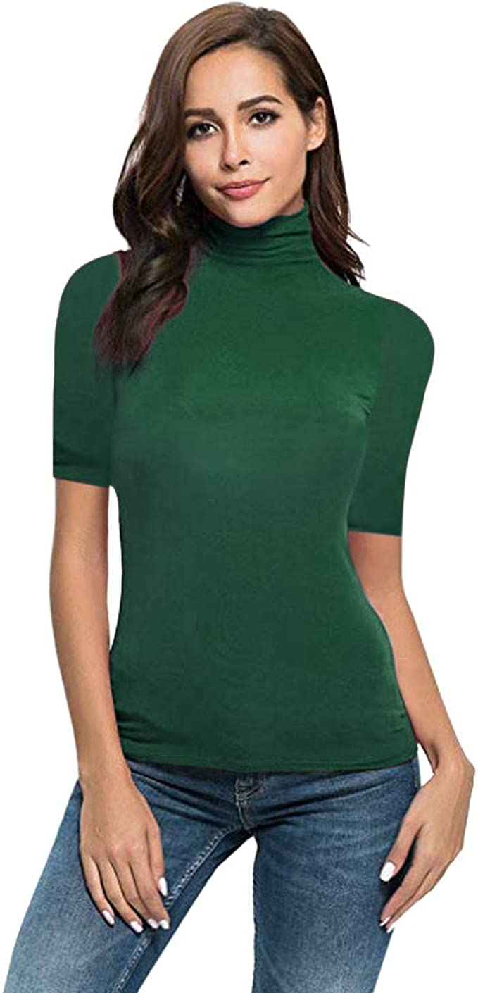 New Damen T-shirt Top Rollkragen Ausschnitt Kurzärmelig Trikot Baumwolle Schwarz