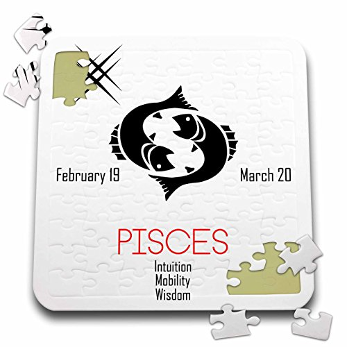Alexis Design - Zodiac - Zodiac symbol Pisces on white background - 10x10 Inch Puzzle (pzl_272617_2)