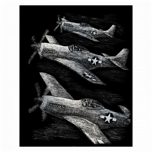 Silver Foil Engraving Art Kit 8''X10''-Fighter Planes by Generic