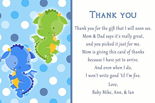 30 Thank You Cards Twin Boys Dragon Kids Birthday Baby Shower Personalized Cards Photo Paper