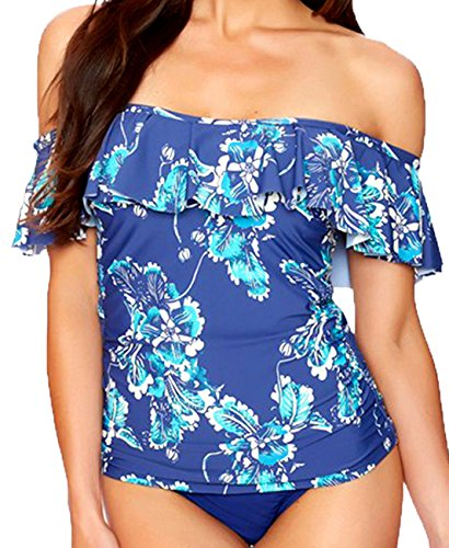 Summer Bay Women Sexy Ruffle Off-The-Shoulder One-Piece S...