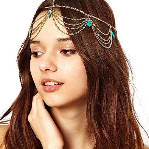 Radtengle Head Chain Jewelry Simulate Turquoise Headbands Crossover Headpiece Jewelry Hair Band Tassels for Women Wedding