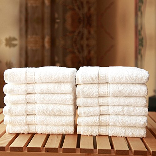 Authentic Hotel Spa Turkish Cotton 12-pieces Solid White Washcloth ,13