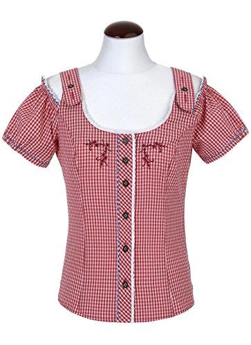Spieth & Wensky - Karierte Damen Trachten Bluse in verschiedenen Farben, Dallas (261450-0948), Größe:48;Farbe:Rot/Blau (4808)