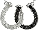 Elegant Black and White Crystal Lucky Horseshoe Pendant Silver Necklace Best Jewelry Gift for Women Girl