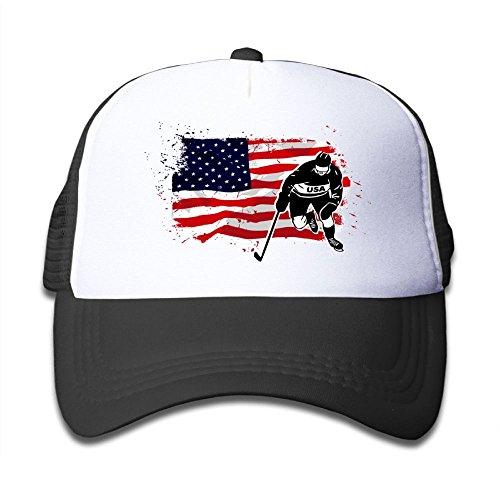 Qiop Nee Black Mesh Baseball Caps Adjustable Kids Hats American Ice Hockey - Hockey Hat Junior