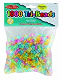 Charles Leonard Creative Arts Tri Beads, 11 MM, Translucent, Assorted Colors, 1000/Bag (59040)