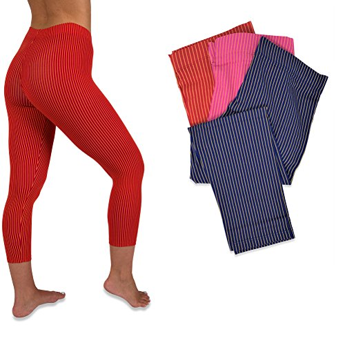 (Sexy Basics Womens 3 Pack Active Yoga Workout Capri Cropped Cotton Stretch Leggings (XS, 3 PK- FOIL Stripes))