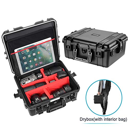 Neewer Waterproof Hard Case with Inner Bag – Padded Dividers Design for Camera, GoPro, DJI Quadcopter, Lens, Flash, Other Accessories, Medical Equipment and More, NW-201 (Black)