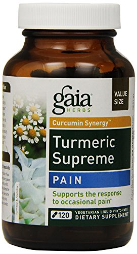 Gaia Herbs Turmeric Supreme Pain, Vegan Liquid Capsules, 120 Count – Supplement with Curcumins, Devil's Claw, Ginger, Feverfew for Healthy Pain Response & Jamaican Dogwood to Promote Comfort Review