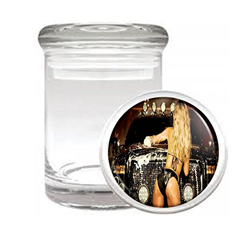 """Medical Glass Stash Jar Texas USA Pin Up Girls Model S4 Air Tight Lid 3"""" x 2"""" Small Storage Herbs & Spices"""