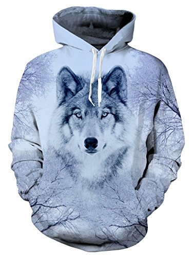 RAISEVERN Snow Wolf All Over White Print Graphic Casual Pullover Hooded Cool Sweatshirt Jacket Hoodies with Velvet for Men Women XXXX-Large (Velvet Casual Mans Jacket)