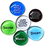 Inspiration Glass Stones for Encouragement and Motivation. Designed to Stimulate Creativity and Faith in One's Self. Set of 6. By Lifeforce Glass