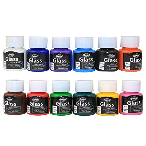 Glass Paint, Stained Glass Paint, Glass Color Paint for Wine Bottle, Light Bulbs and Ceramic (12 Colors x 0.84 fl.oz) (Stained Glass Krylon)