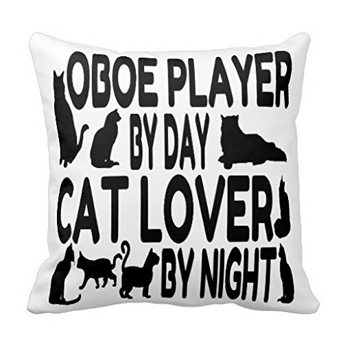 Cat Lover Oboe Player Customized Square Custom Throw Pillow Case Cushion Cover Pillowcase Pillow Cover 18×18