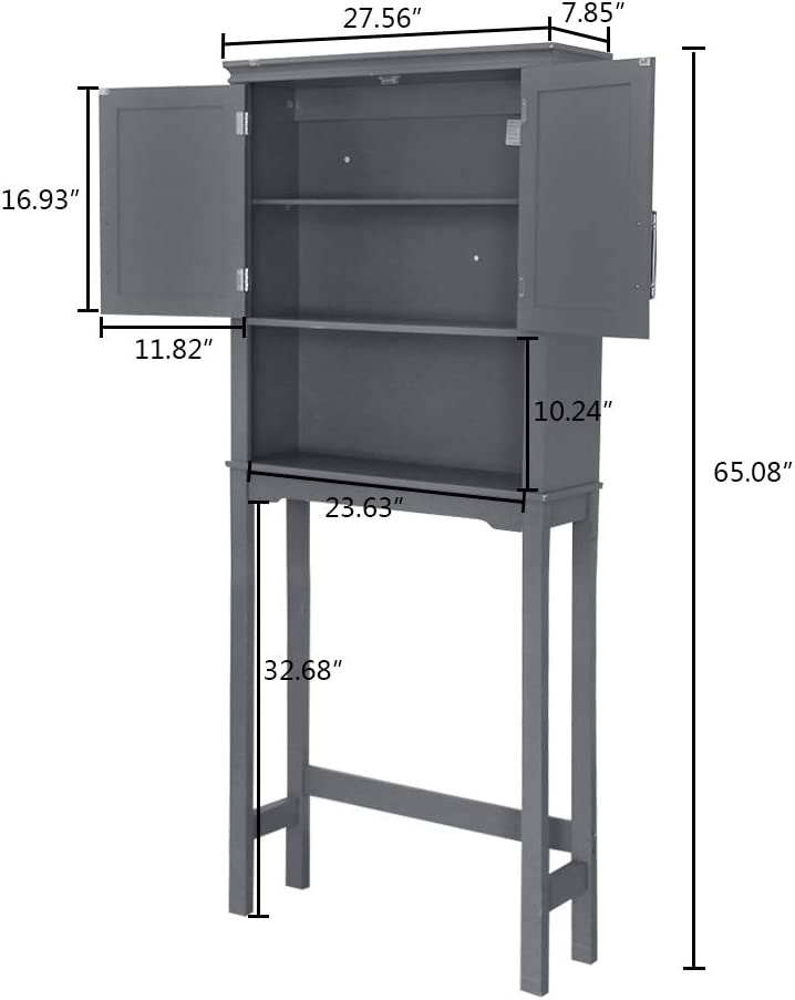 Knocbel Bathroom Storage Cabinet Over The Toilet Space Saver Free Standing Rack with Double Doors 27.56 L x 7.85 W x 65.08 H Gray Adjustable Shelves /& Metal Handles