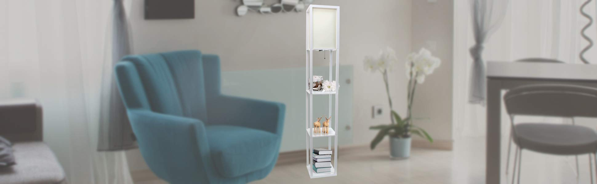 Simple Designs LF1014-WHT Floor Lamp Etagere Organizer Storage Shelf with Linen Shade, White by Simple Designs Home (Image #6)