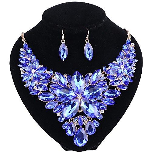 Women Wedding Jewelry Set Crystal Flower Luxury Bridal Necklace Earring
