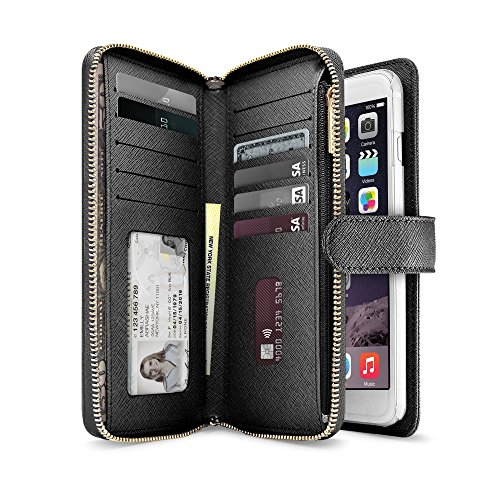 iLuv Premium Leather Wallet Case with a Security Zipper & Tight Button Closure, Clean Cut Saffiano Finish, Multiple Card Slots and Extra Zipper Coin/ Cash Pocket for the iPhone 6 Plus & iPhone 6S (Iphone Wallet Case)