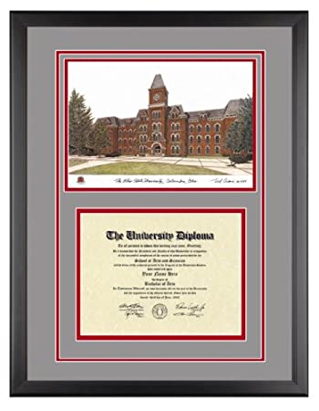 ohio state diploma frame with artwork in classic black frame - Double Degree Frame