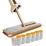 Double Sided Flat Mop, 360 Degrees Self-wringing Floor Mop 15 Inch Wet and Dry Flip Lazy Mop for Living Room, Hardwood Floor, Kitchen, Bathroom (Total of 6 Microfiber Mop Pads)