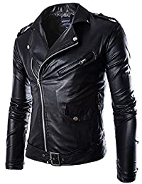 Bestgift Men's Oblique Zipper Faux Leather Short Jacket