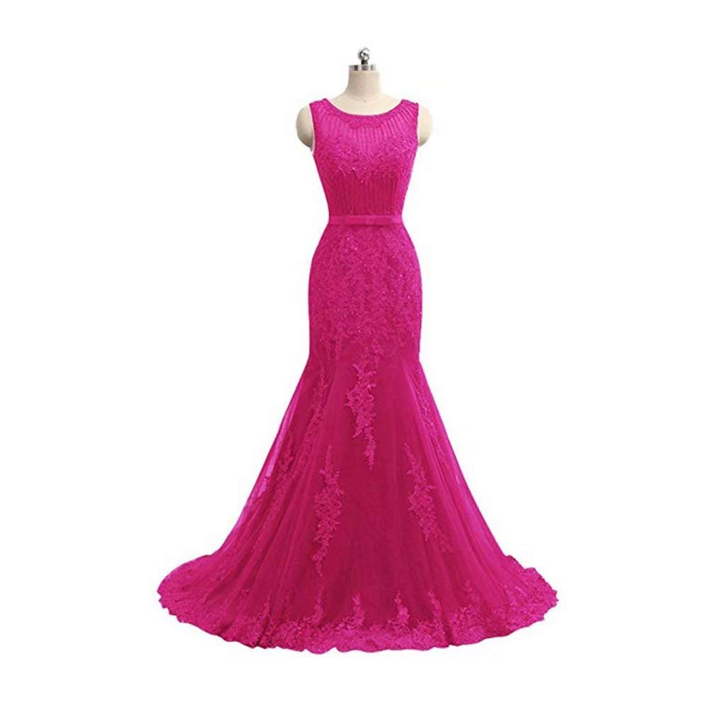 pink Red Unions Women Sleeveless Lace Appliques Tulle Prom Dress Luxury Long Formal Evening Gown